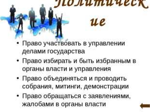 Политические Право участвовать в управлении делами государства Право избирать