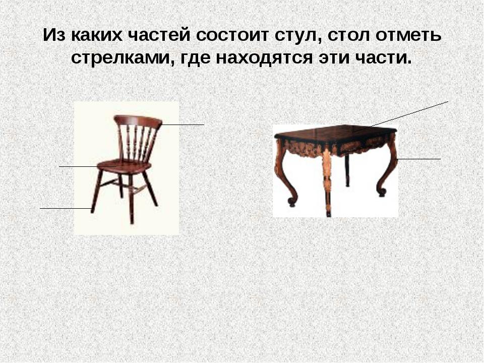 Из каких частей состоит стул, стол отметь стрелками, где находятся эти части.