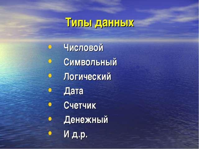 Типы данных Числовой Символьный Логический Дата Счетчик Денежный И д.р.