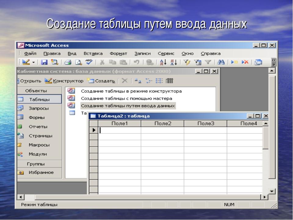 Создание таблицы путем ввода данных