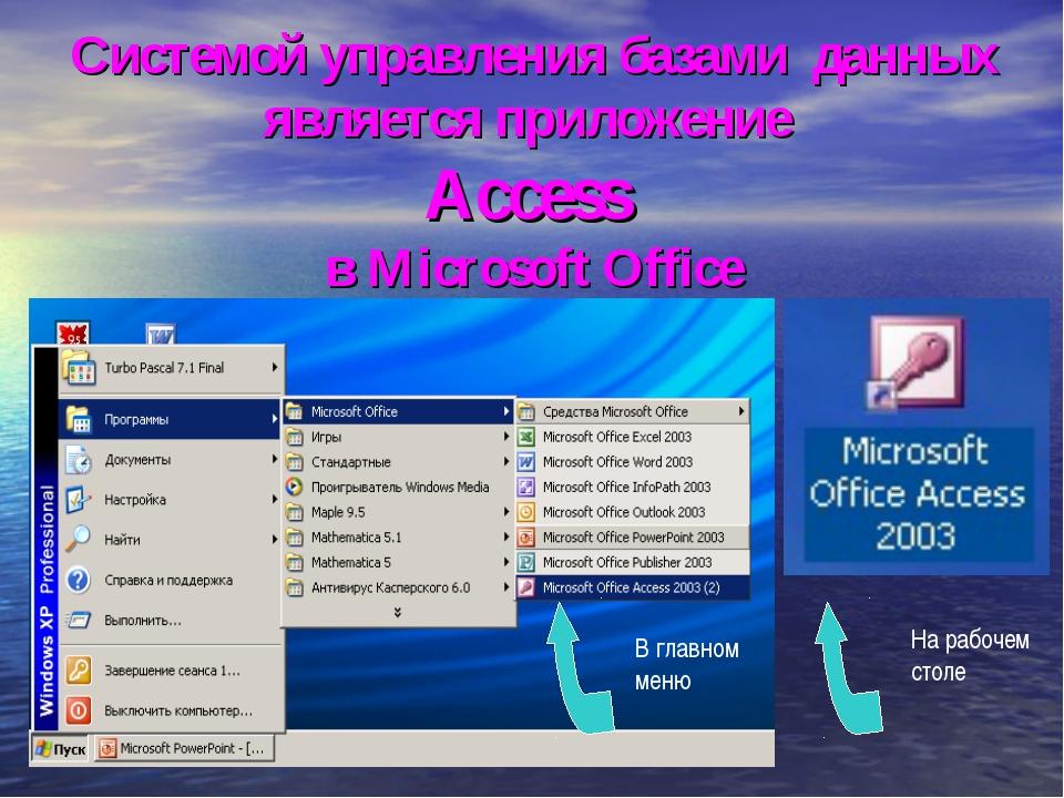 Системой управления базами данных является приложение Access в Microsoft Offi...