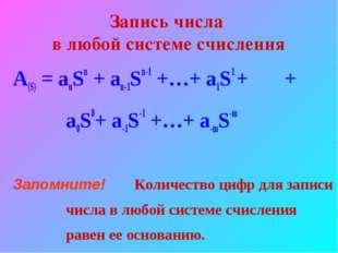 Запись числа в любой системе счисления A(S) = anSn + an-1Sn-1 +…+ a1S1 + + a0