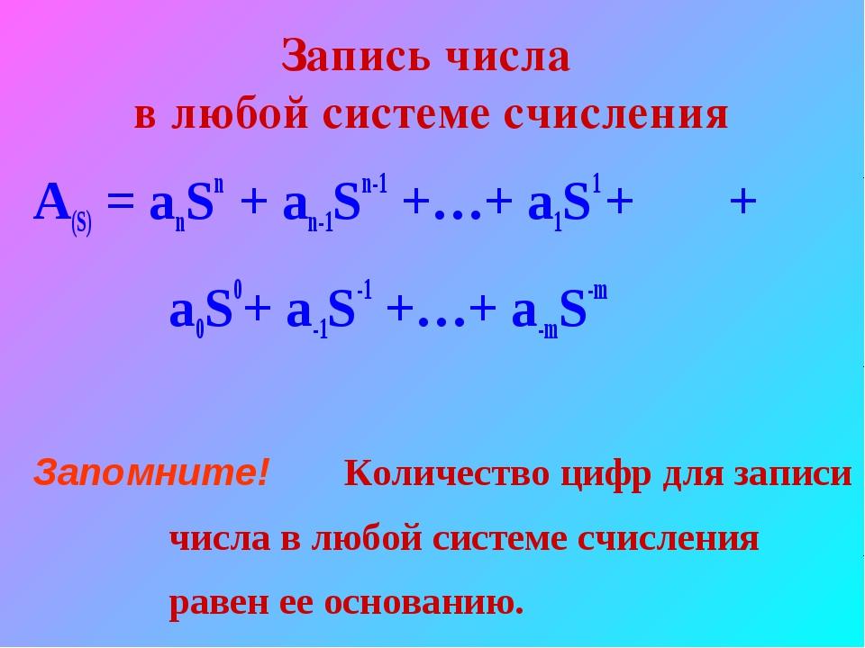 Запись числа в любой системе счисления A(S) = anSn + an-1Sn-1 +…+ a1S1 + + a0...
