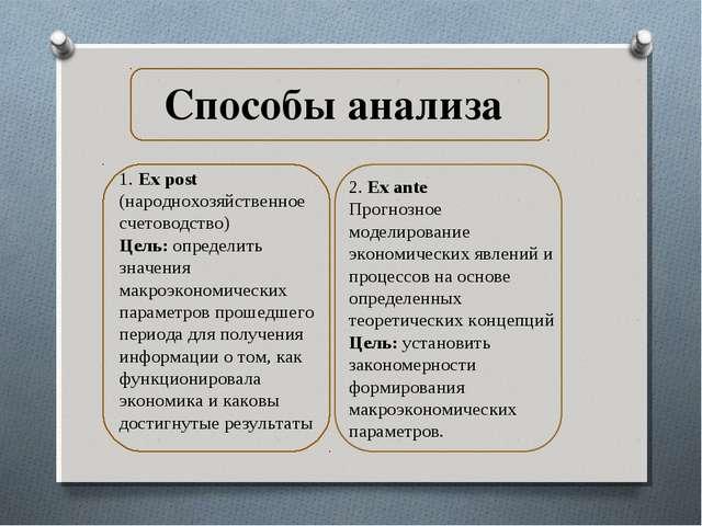 Способы анализа 1. Ex post (народнохозяйственное счетоводство) Цель: определи...