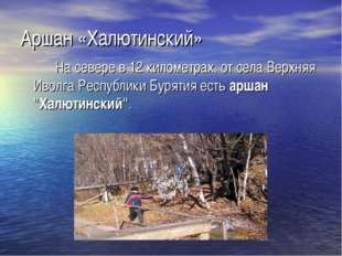 Аршан «Халютинский» На севере в 12 километрах, от села Верхняя Иволга Республ