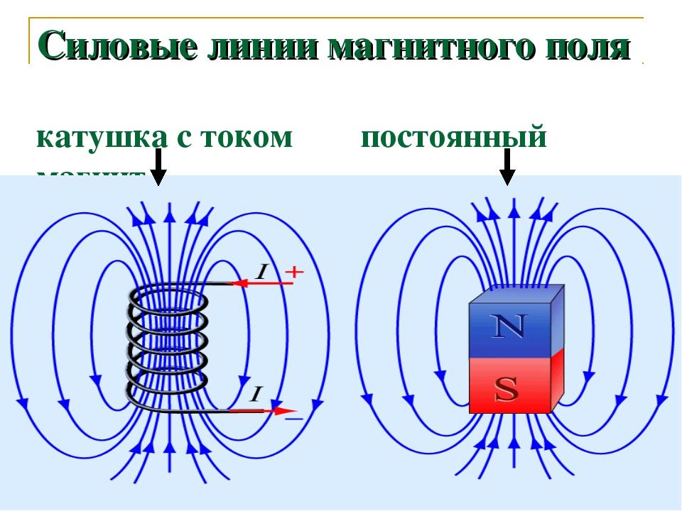 Силовые линии магнитного поля катушка с током постоянный магнит