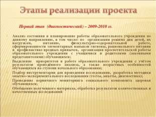 Первый этап (диагностический) – 2009-2010 гг. Анализ состояния и планировани