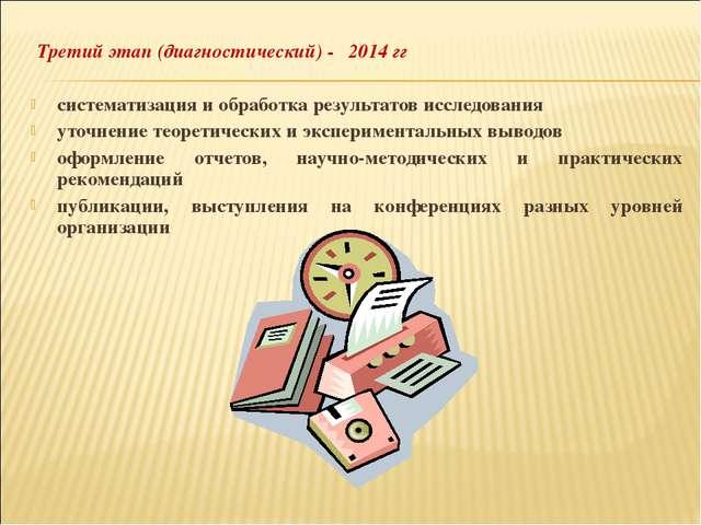 Третий этап (диагностический) - 2014 гг систематизация и обработка результат...