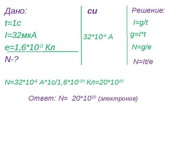 Дано: t=1c I=32мкА е=1,6*10-19 Кл N-? си 32*10-6 А Решение: I=g/t g=I*t N=g/е...