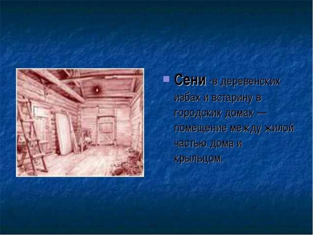 Сени -в деревенских избах и встарину в городских домах — помещение между жило...