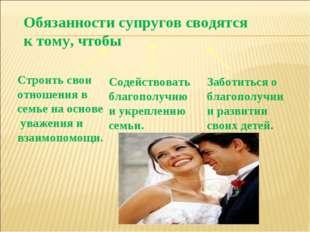 Обязанности супругов сводятся к тому, чтобы Строить свои отношения в семье на