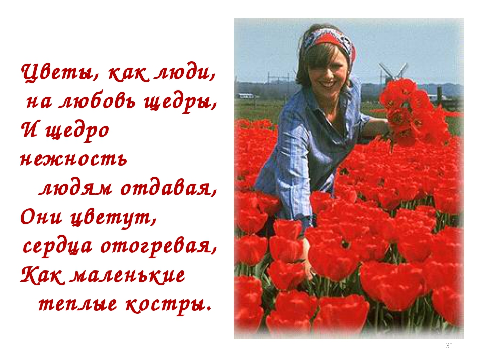 Цветы, как люди, на любовь щедры, И щедро нежность людям отдавая, Они цветут,...