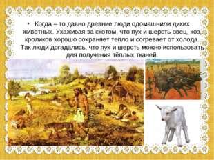 Когда – то давно древние люди одомашнили диких животных. Ухаживая за скотом,