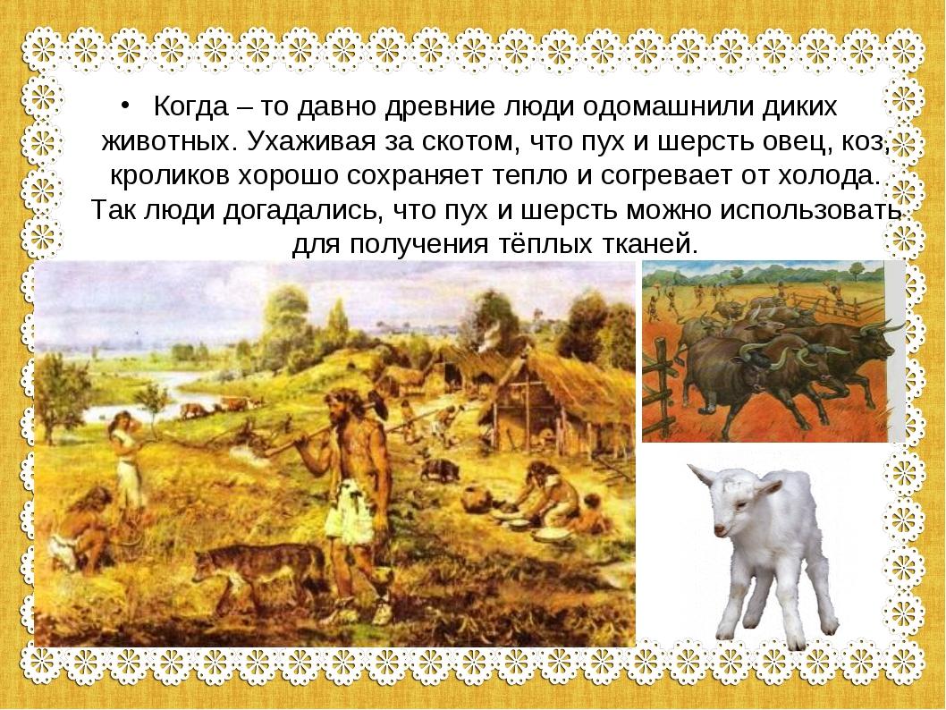 Когда – то давно древние люди одомашнили диких животных. Ухаживая за скотом,...