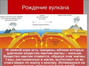 Рождение вулкана В земной коре есть трещины, вблизи которых давление вещества
