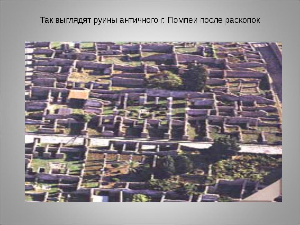 Так выглядят руины античного г. Помпеи после раскопок
