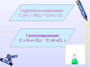 Гидрогалогенирование С 2Н 4 + НСL С2Н 5 СL Галогенирование С 2 Н 4+ СL2 С 2Н