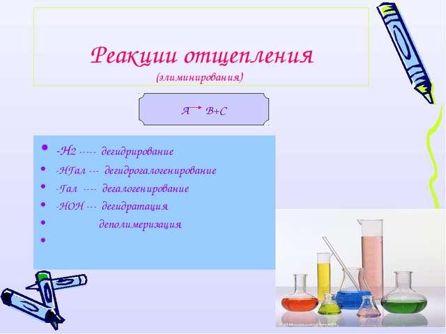Реакции отщепления (элиминирования) -Н2 ----- дегидрирование -НГал --- дегидр...