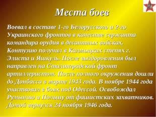 Воевал в составе 1-го Белорусского и 2-го Украинского фронтов в качестве серж