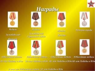 Награды Медаль За победу над Германией в ВОв Ветеран труда Юбилейная медаль 2