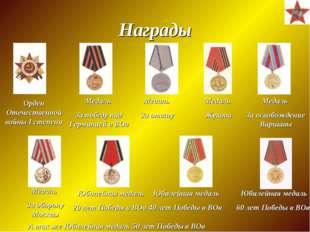 Награды Орден Отечественной войны I степени Медаль За победу над Германией в