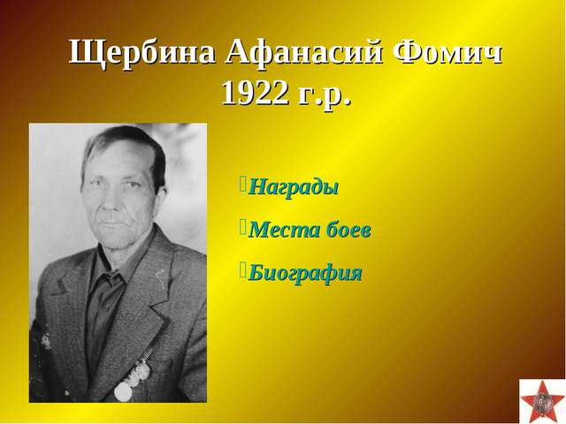 Щербина Афанасий Фомич 1922 г.р. Награды Места боев Биография
