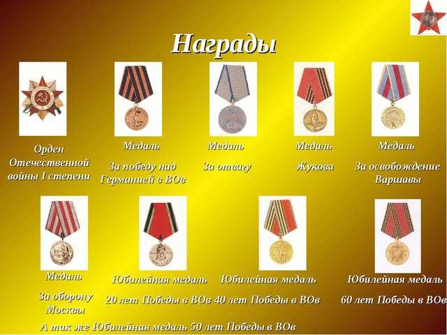 Награды Орден Отечественной войны I степени Медаль За победу над Германией в...