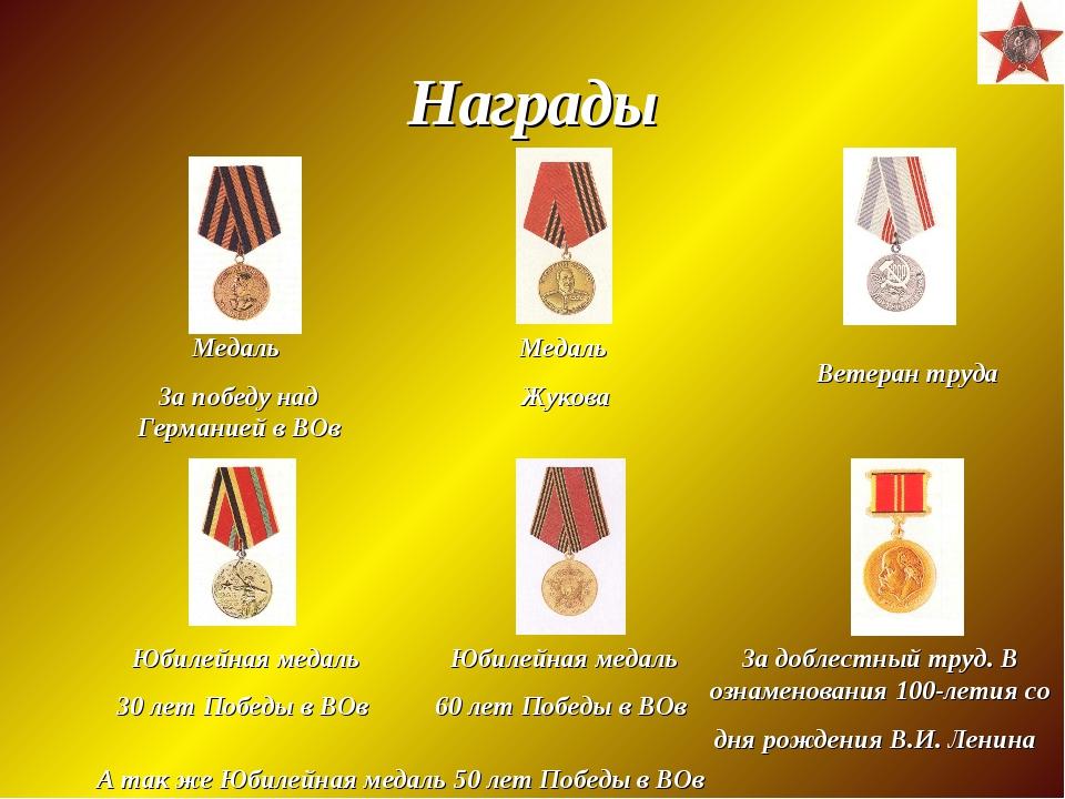 Награды Медаль За победу над Германией в ВОв Юбилейная медаль 30 лет Победы в...