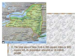 The total area of New York is 365 square miles or 900 square km. Its populati