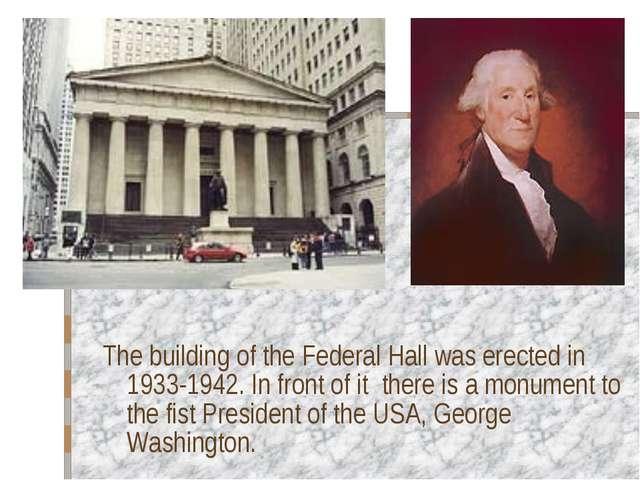 The building of the Federal Hall was erected in 1933-1942. In front of it the...