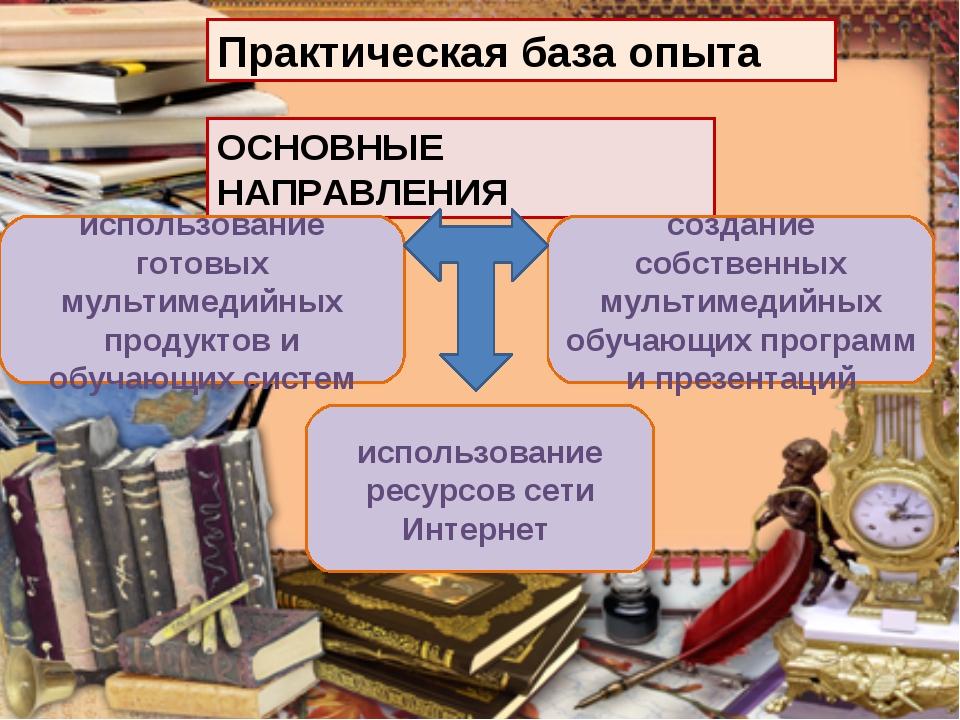 ОСНОВНЫЕ НАПРАВЛЕНИЯ Практическая база опыта использование готовых мультимеди...