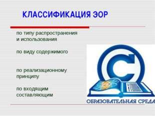 КЛАССИФИКАЦИЯ ЭОР по типу распространения и использования по виду содержимого
