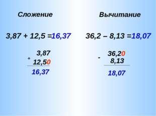 3,87 + 12,5 = 3,87 + 12,5 0 16,37 16,37 36,2 – 8,13 = 36,2 - 8,13 0 18,07 18,