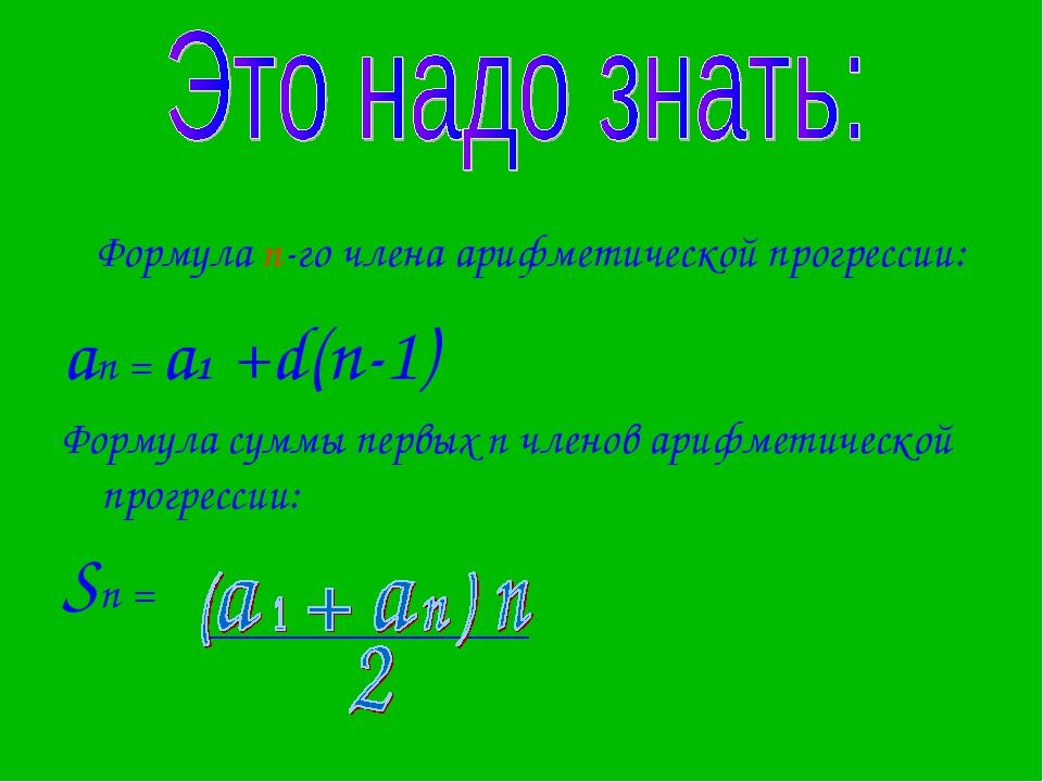 . Формула n-го члена арифметической прогрессии: аn = a1 +d(n-1) Формула суммы...