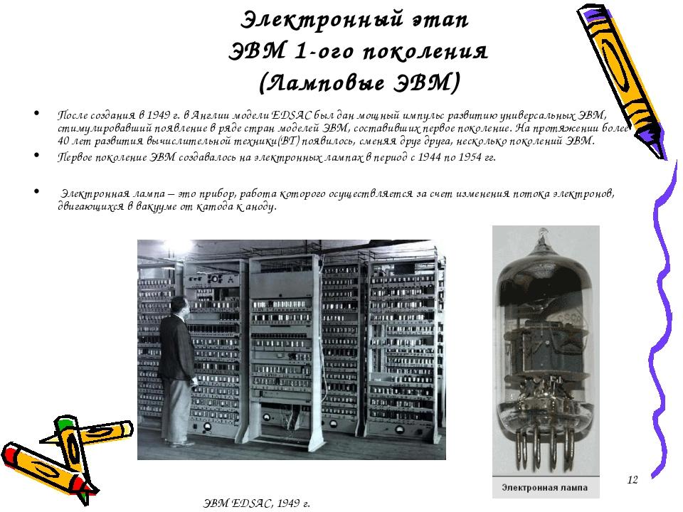 Электронный этап ЭВМ 1-ого поколения (Ламповые ЭВМ) После создания в 1949 г....