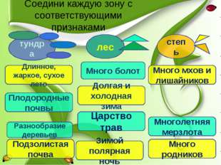 Соедини каждую зону с соответствующими признаками Разнообразие деревьев Много