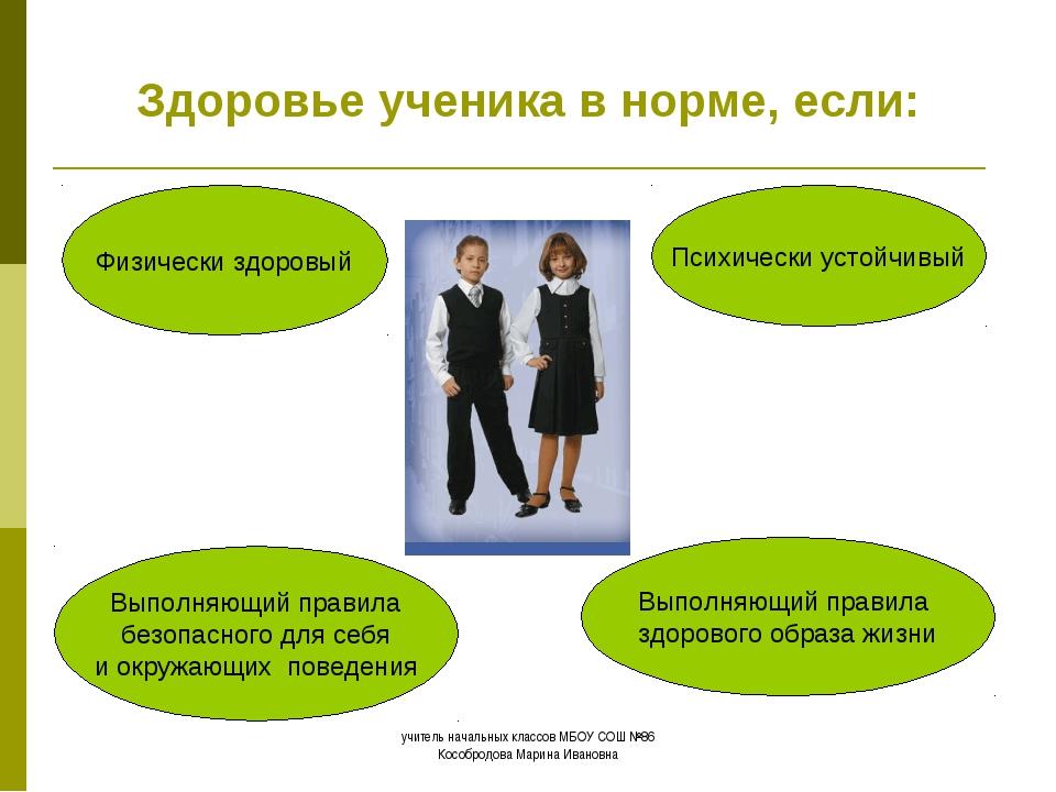 Здоровье ученика в норме, если: Физически здоровый Выполняющий правила безоп...