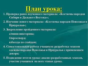 План урока: 1. Проверка ранее изученного материала: «Костюмы народов Сибири и