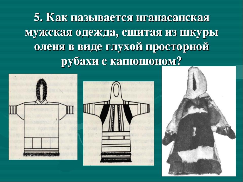 5. Как называется нганасанская мужская одежда, сшитая из шкуры оленя в виде...