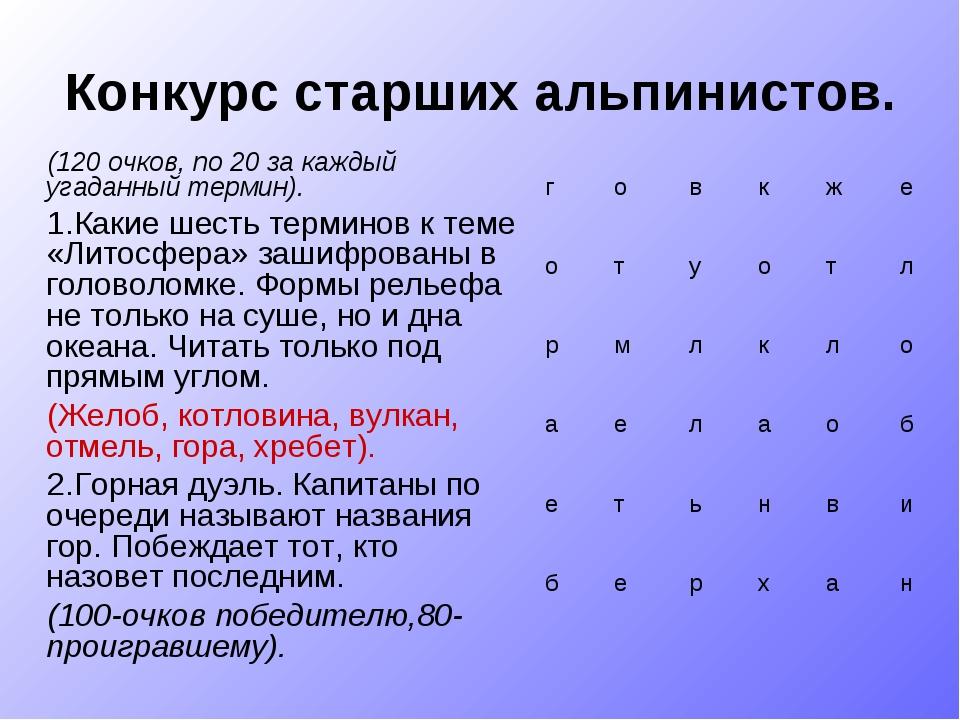 Конкурс старших альпинистов. (120 очков, по 20 за каждый угаданный термин). 1...