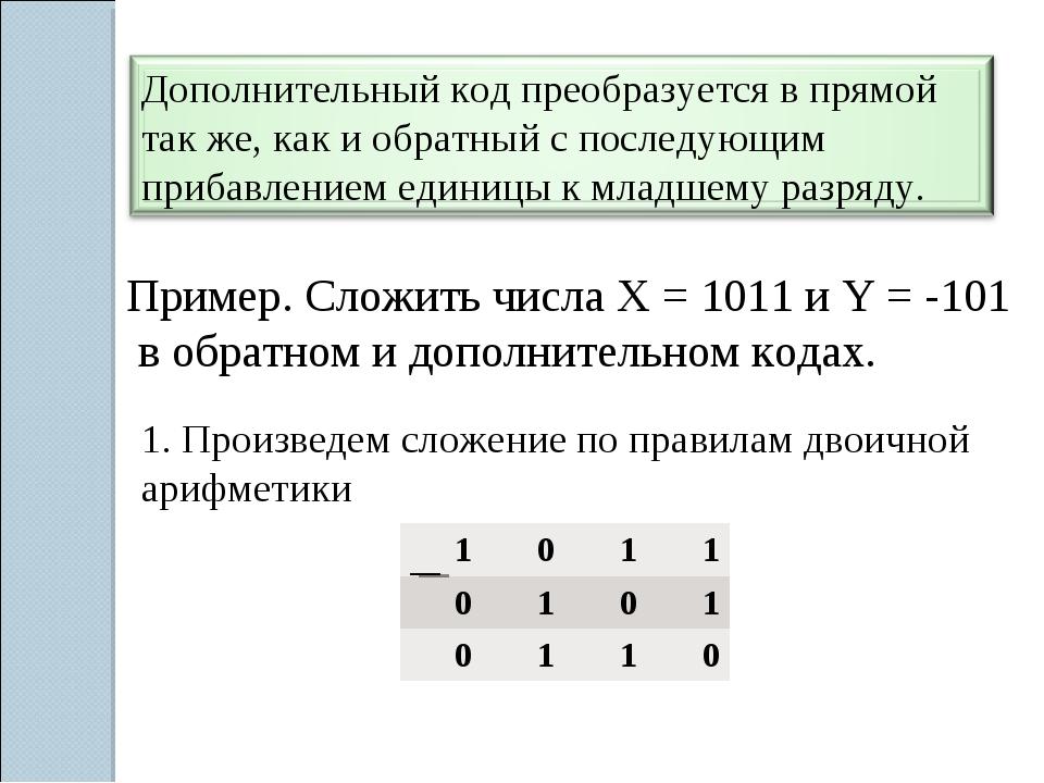 Пример. Сложить числа Х = 1011 и Y = -101 в обратном и дополнительном кодах....