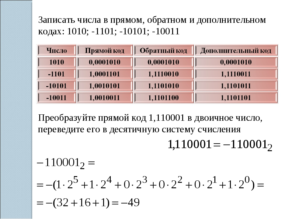 Записать числа в прямом, обратном и дополнительном кодах: 1010; -1101; -10101...