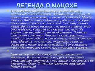 ЛЕГЕНДА О МАЦОХЕ В недалеком поселке Вилемовице жил вдовец с маленьким сыном