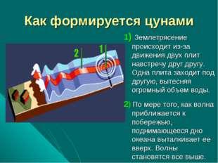 Как формируется цунами 1) Землетрясение происходит из-за движения двух плит н