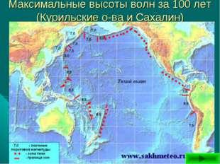 Максимальные высоты волн за 100 лет (Курильские о-ва иСахалин)