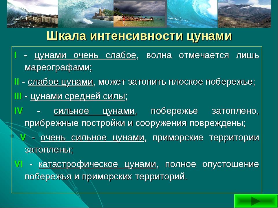 Шкала интенсивности цунами I - цунами очень слабое, волна отмечается лишь ма...