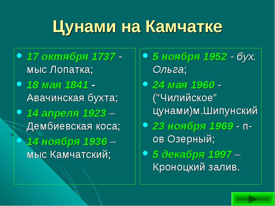 Цунами на Камчатке 17 октября 1737 - мыс Лопатка; 18 мая 1841 - Авачинская бу...
