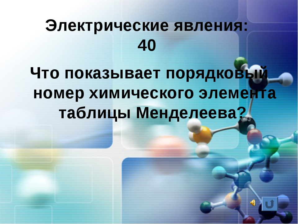 Электрические явления: 40 Что показывает порядковый номер химического элемент...