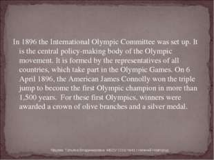 In 1896 the International Olympic Committee was set up. It is the central pol