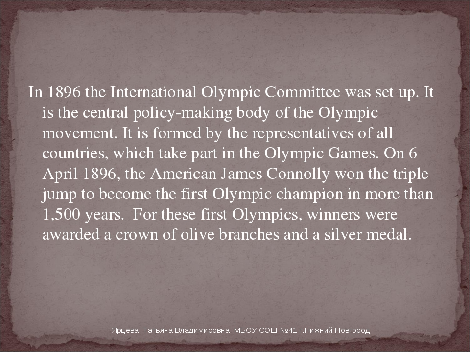 In 1896 the International Olympic Committee was set up. It is the central pol...